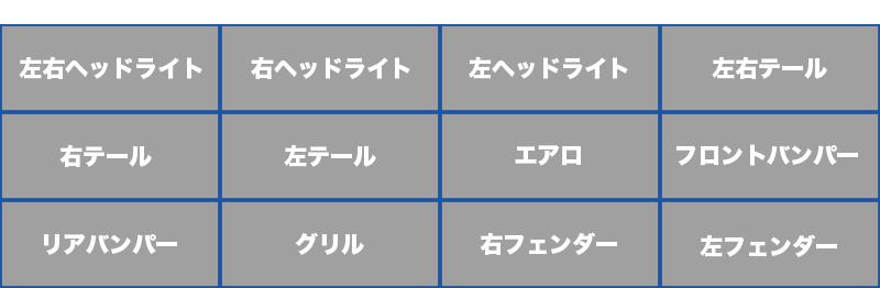 左右ヘッドライト、右ヘッドライト、左ヘッドライト、左右テール、右テール、左テール、エアロ、フロントバンパー、リアバンパー、グリル、右フェンダー、左フェンダー